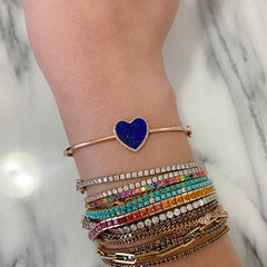 14K Gold Diamond & Lapis Lazuli Inlay Heart Bangle Cuff Bracelet ~ One Of A Kind LIMITED EDITION