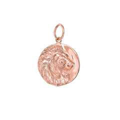 14K Gold Lion Medallion Charm Pendant