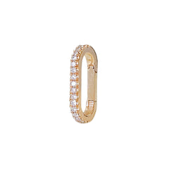14K Gold Half Pavé Diamond Elongated Oval Charm Enhancer, Small Size ~ In Stock!