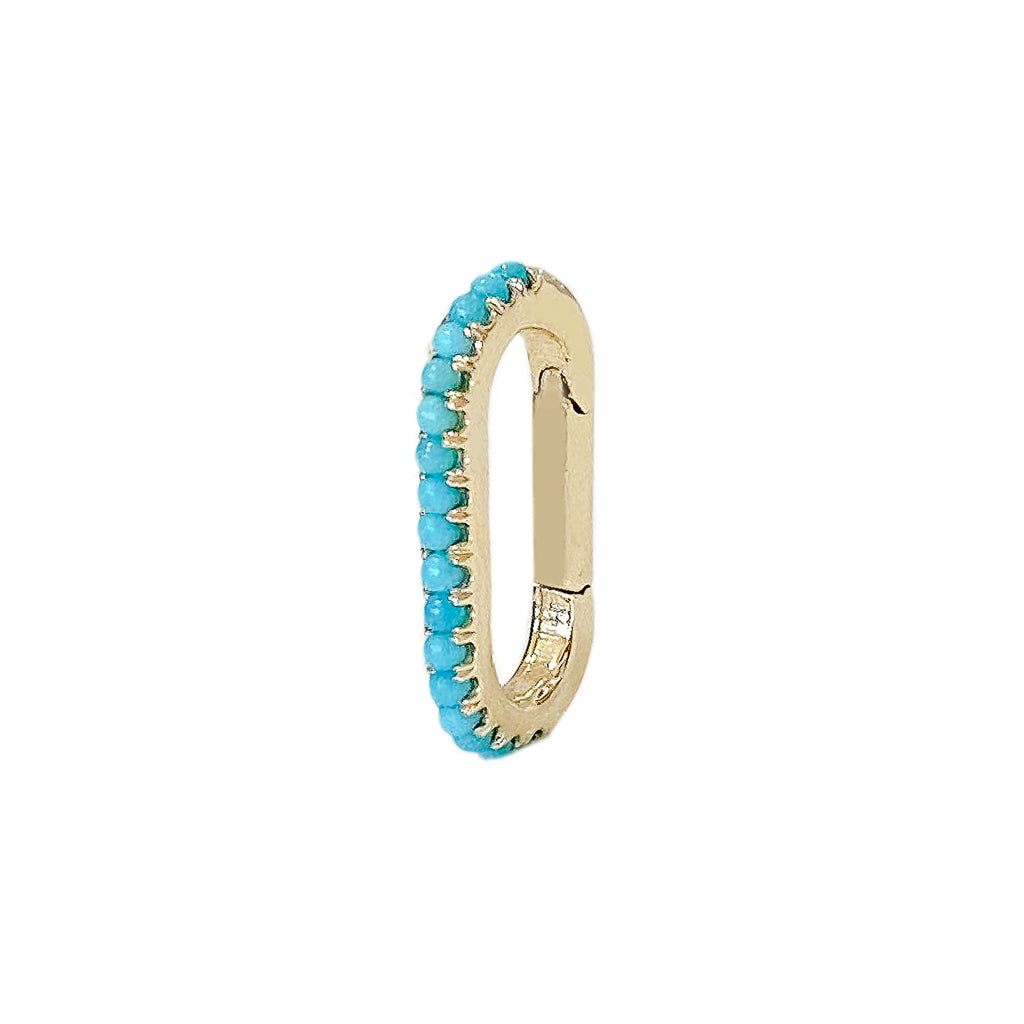 14K Gold Half Pavé Turquoise Elongated Oval Charm Enhancer, Small Size ~ In Stock!
