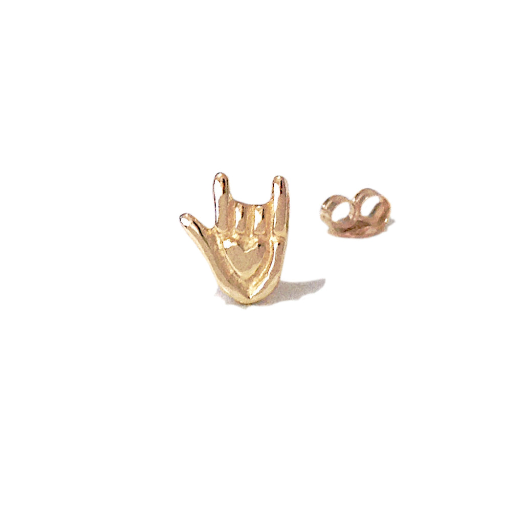 "14K Gold ""I Love You"" Hand Sign Language Stud Earring"