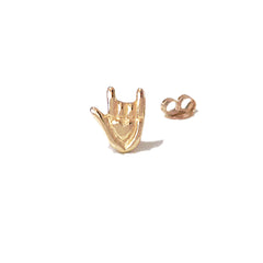 "14K Gold ""I Love You"" Hand Sign Language Stud Earring ~ In Stock!"
