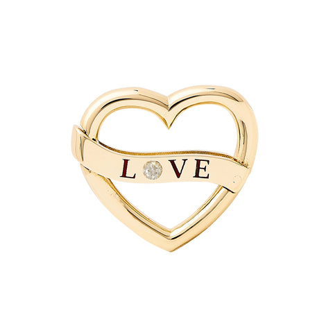 "14K Gold Diamond ""LOVE"" Heart Double Lock Charm Enhancer"