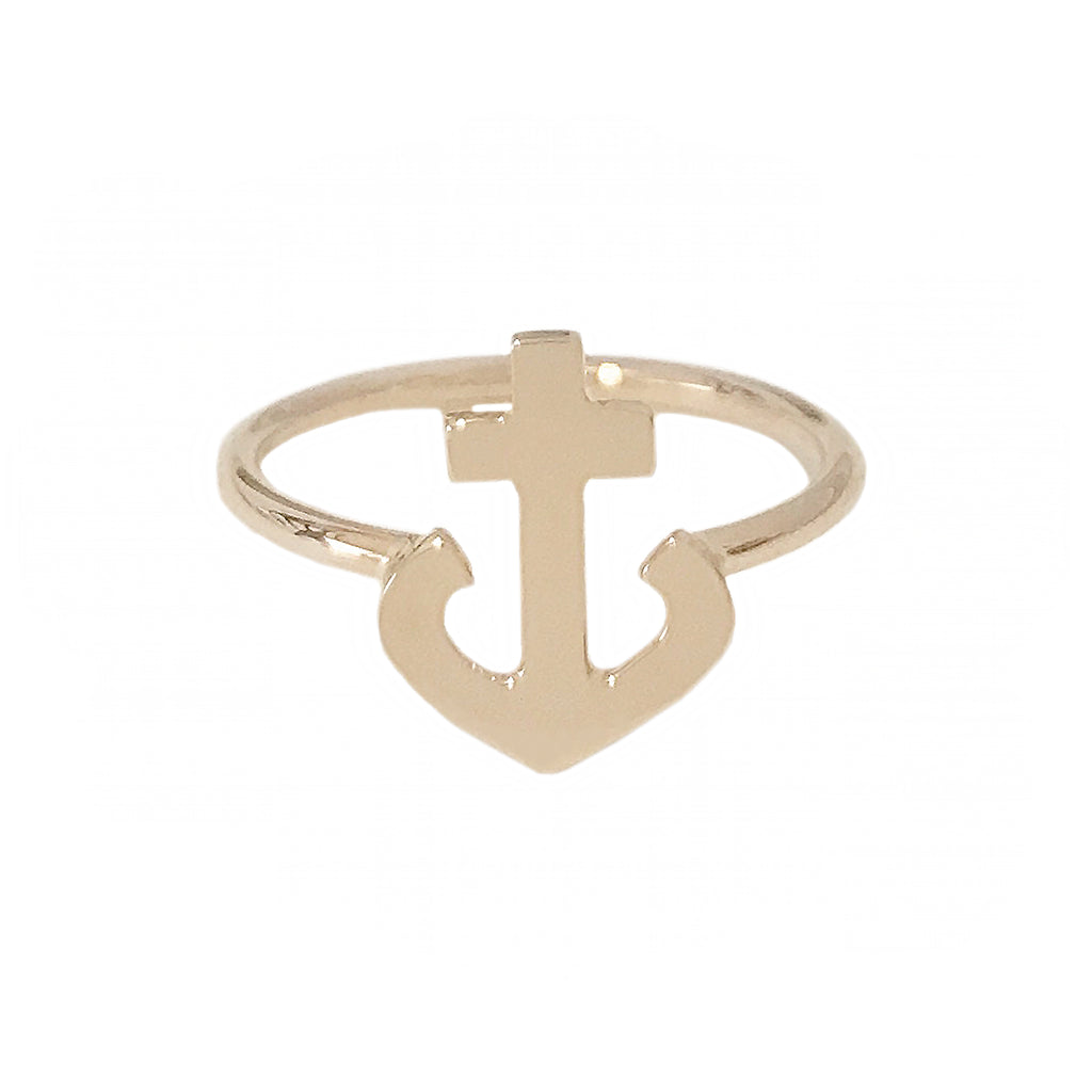 14K Gold Anchor Ring
