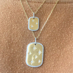 14K Gold Pavé Diamond Starburst Dog Tag Pendant Necklace, Large Size ~ One Of A Kind LIMITED EDITION