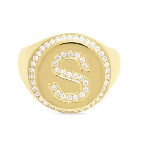 14K Gold Pavé Diamond Initial Large Round Signet Ring