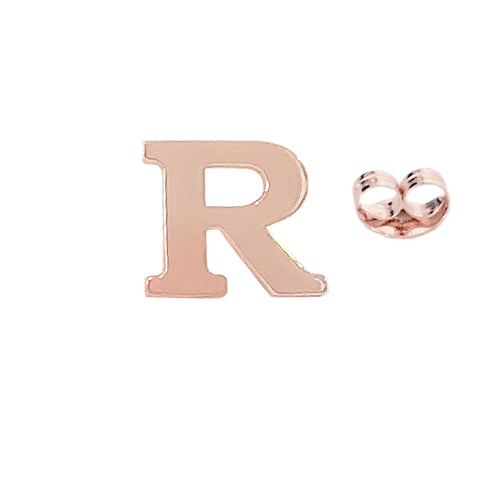 14K Gold Large Size Alphabet Letter Initial Single Stud Earring
