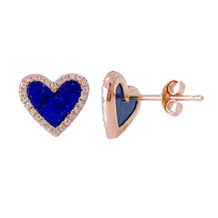 14K Gold Diamond & Lapis Lazuli Inlay Heart Stud Earrings ~ LIMITED EDITION