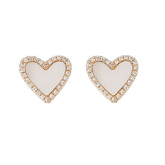 14K Gold Diamond & Mother of Pearl Inlay Heart Stud Earrings ~ LIMITED EDITION