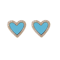 14K Gold Diamond & Turquoise Inlay Heart Stud Earrings ~ LIMITED EDITION