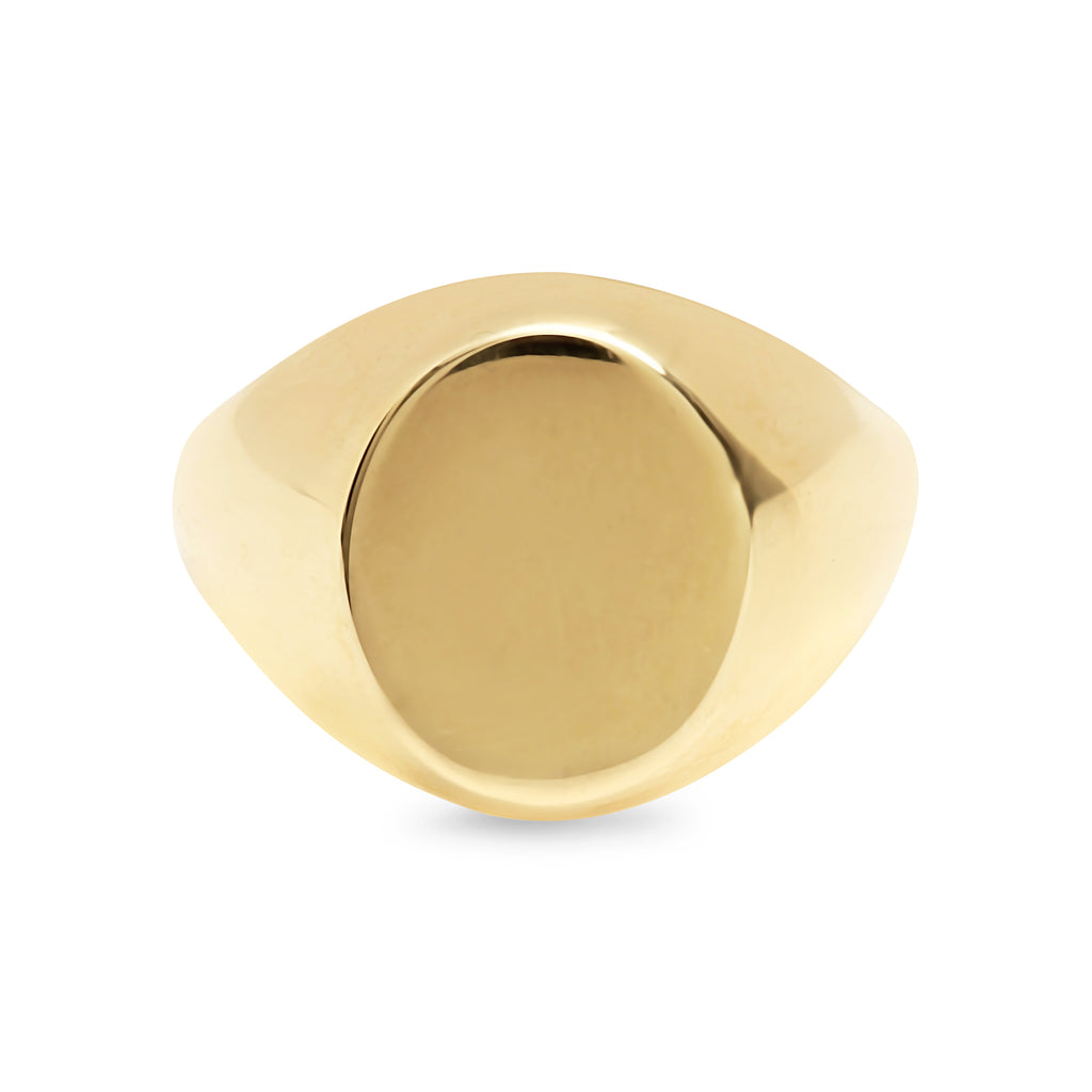 14K Gold Oval Signet Ring ~ Large Size