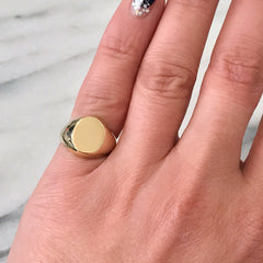 14K Gold Oval Signet Ring, Large Size ~ In Stock!