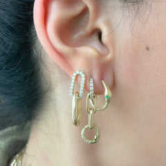 14K Gold Ouroboros Snake Huggie Hoop Earrings ~ Large Size