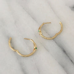14K Gold Ouroboros Snake Huggie Hoop Earrings ~ Large Size, In Stock!