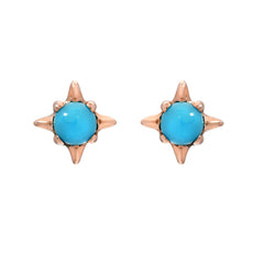 14K Gold Turquoise Solitaire Starburst Stud Earrings
