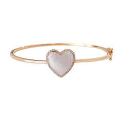 14K Gold Diamond & Mother Of Pearl Inlay Heart Bangle Cuff Bracelet ~ LIMITED EDITION