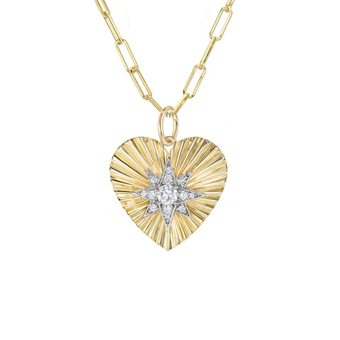 14K Gold Pavé Diamond Starburst Fluted Heart Medallion Necklace, Medium Size