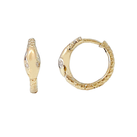 14K Gold Ouroboros Snake Huggie Hoop Earrings ~ Medium Size