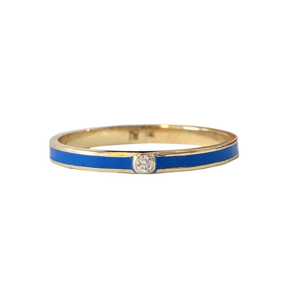 14K Gold Blue Enamel & Diamond Micro Eternity Band Ring