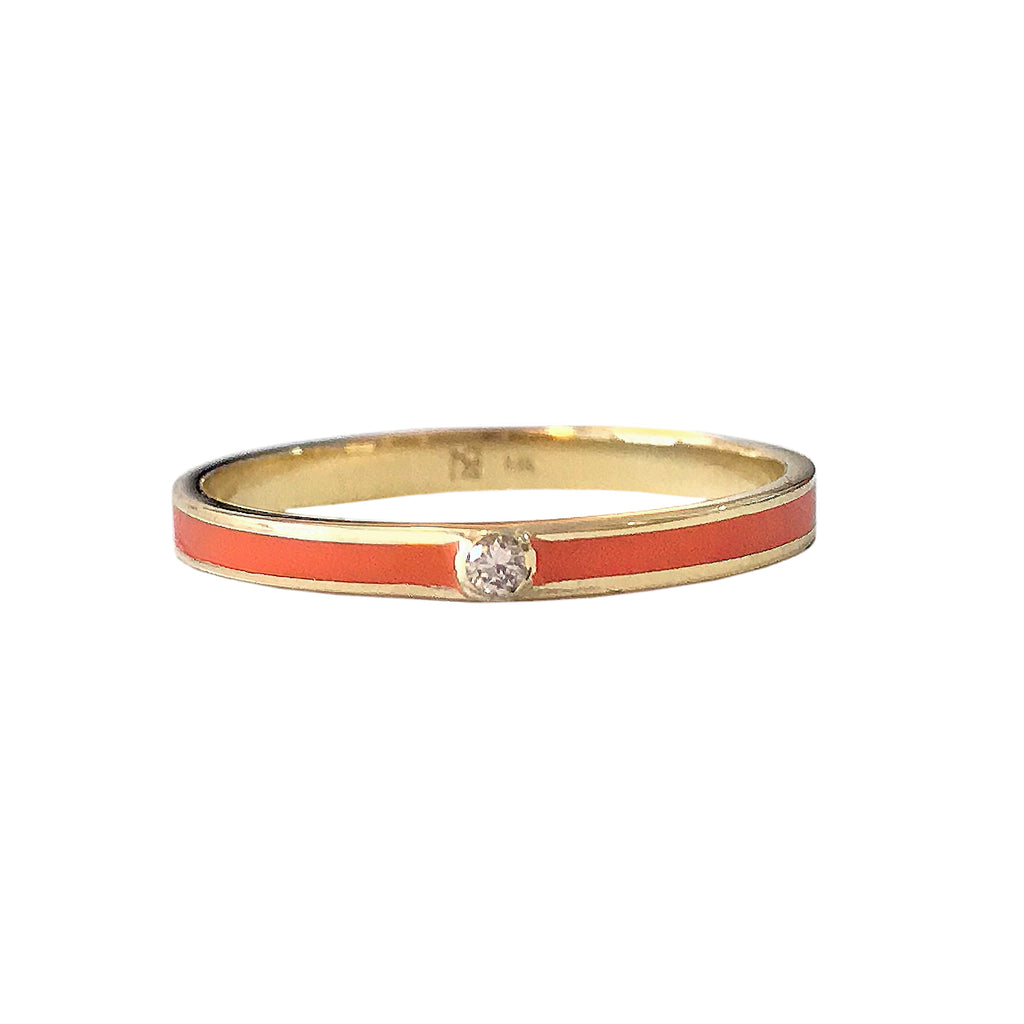 14K Gold Orange Enamel & Diamond Micro Eternity Band Ring