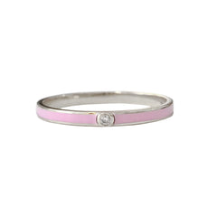 14K Gold Pastel Pink Enamel & Diamond Micro Eternity Band Ring