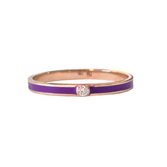14K Gold Purple Enamel & Diamond Micro Eternity Band Ring