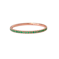 14K Gold Micro Pavé Emerald Full Eternity Band