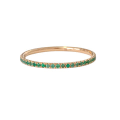 14K Gold & Micro Pavé Emerald Full Eternity Band
