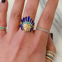 14K Gold Indian Chief Head Ring ~ Lapis Lazuli, Turquoise & Malachite