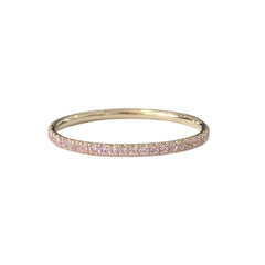 14K Gold Micro Pavé Powder Pink Sapphire Gemstone Full Eternity Band