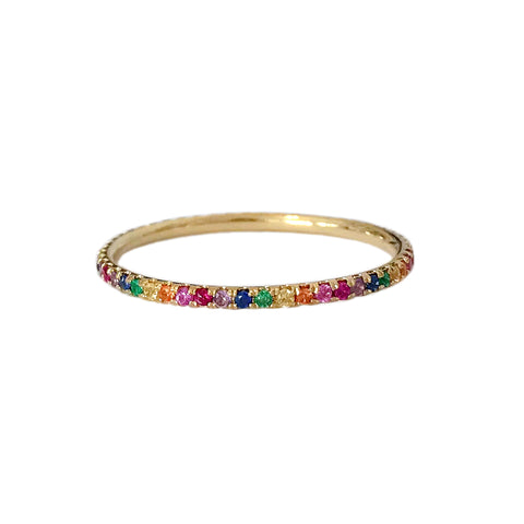 14K Gold & Micro Pavé Rainbow Gemstone Full Eternity Band