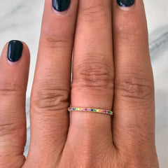 14K Gold Micro Pavé Rainbow Gemstone Full Eternity Band