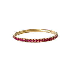 14K Gold Micro Pavé Ruby Gemstone Full Eternity Band