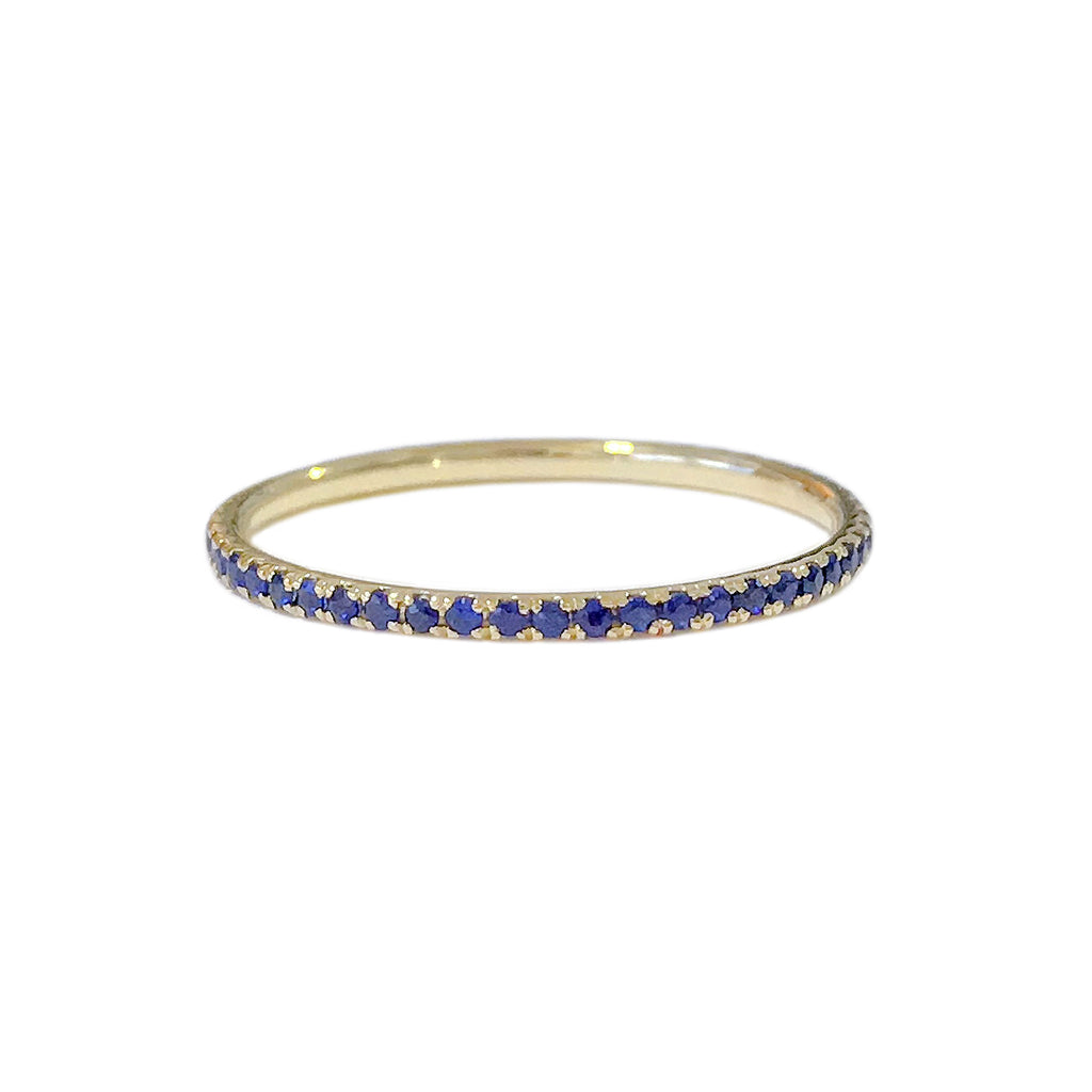 14K Gold Micro Pavé Sapphire Gemstone Full Eternity Band