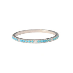 14K Gold Micro Pavé Diamond & Turquoise Gemstone Full Eternity Band ~ In Stock!