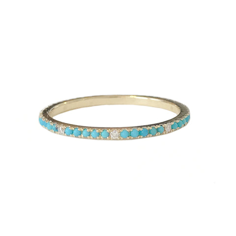14K Gold Micro Pavé Diamond & Turquoise Gemstone Full Eternity Band