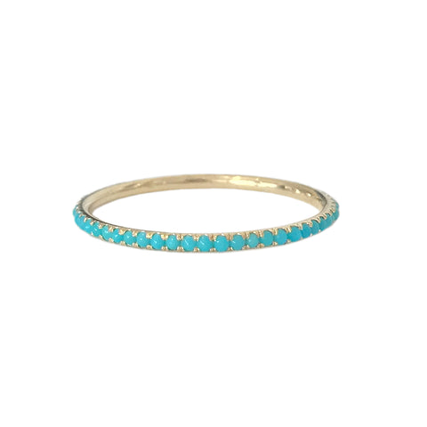 14K Gold Micro Pavé Turquoise Gemstone Full Eternity Band ~ In Stock!