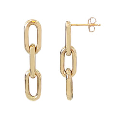 14K Gold Triple Thick Oval Link Chain Dangle Stud Earrings, Small Size Links ~ In Stock!