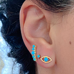 14K Gold Turquoise Solitaire Evil Eye Stud Earrings