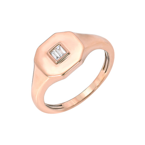 14K Gold Diamond Baguette Octagonal Signet Ring, LIMITED EDITION ~ In Stock!