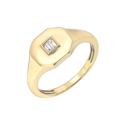 14K Gold Diamond Baguette Octagonal Signet Ring ~ LIMITED EDITION