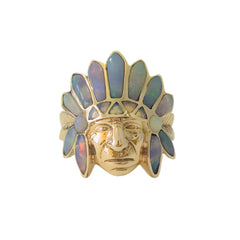 14K Gold Indian Chief Head Ring ~ Opal