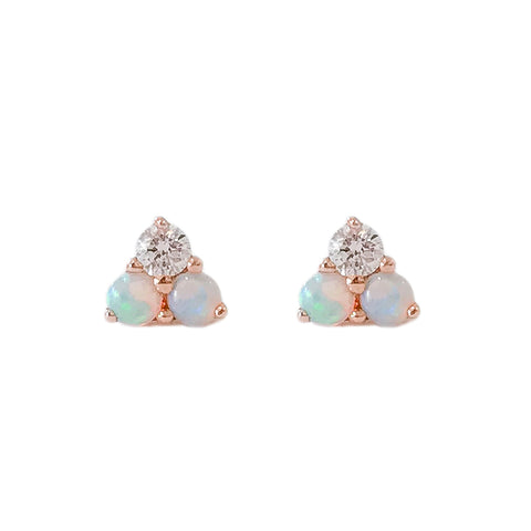 14K Gold Tri Opal & Diamond Trinity Cluster Stud Earrings