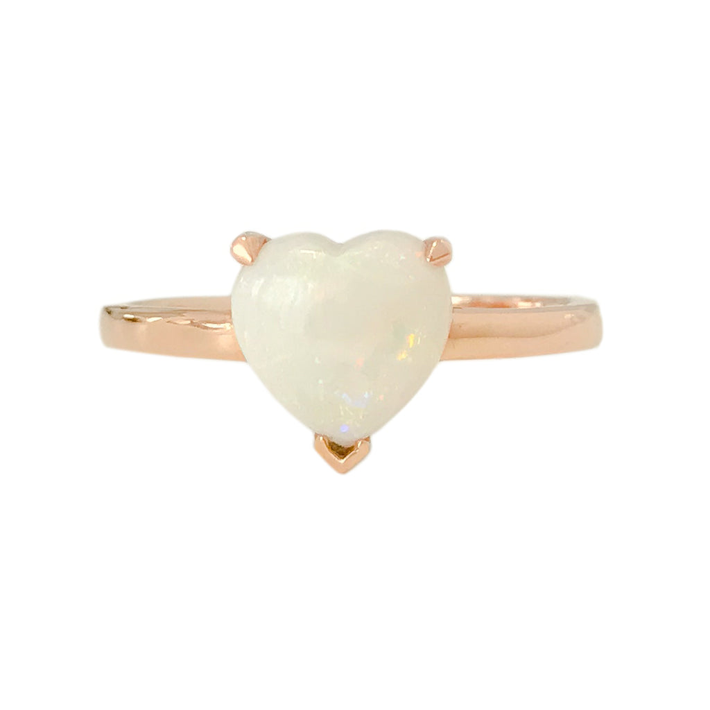 14K Gold Opal Heart Solitaire Ring