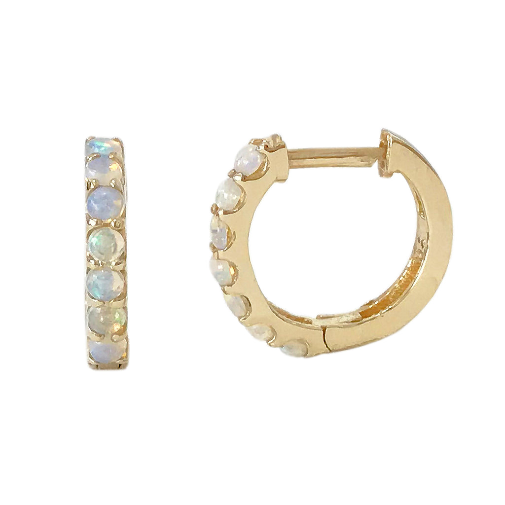 14K Gold & Opal Thick Huggie Hoop Earrings (11.5mm x 8.25mm)