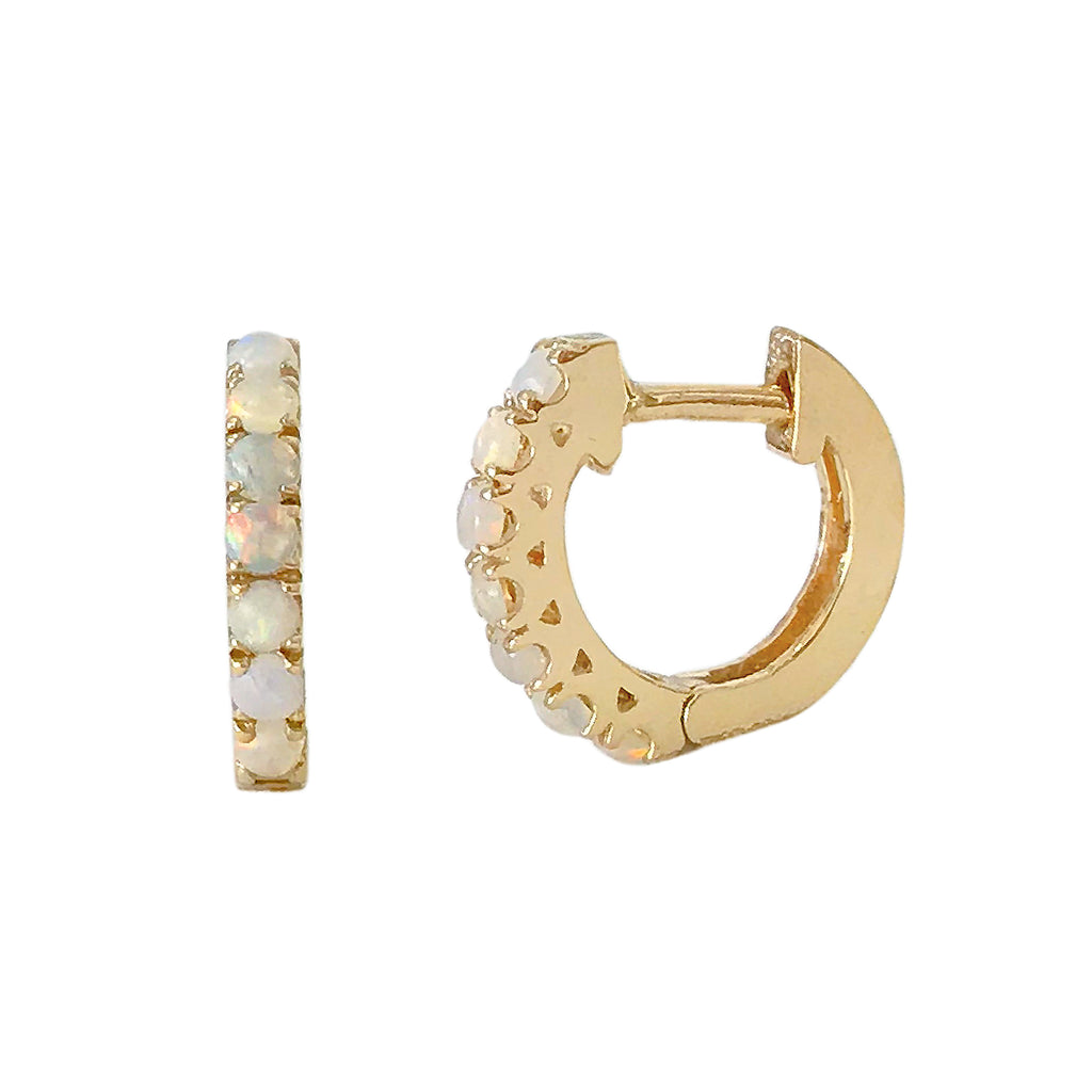 14K Gold Opal Cabochon Thick Huggie Hoop Earrings (11mm x 6mm)