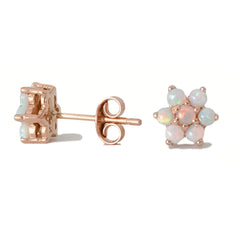 14K Gold & Opal Rosebud Flower Stud Earrings