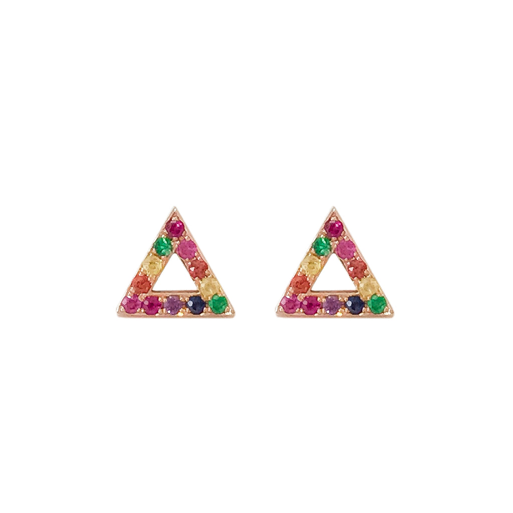 14K Gold & Pavé Rainbow Gemstone Open Triangle Stud Earrings