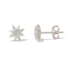 14K Gold Opal & Pavé Diamond Starburst Stud Earrings