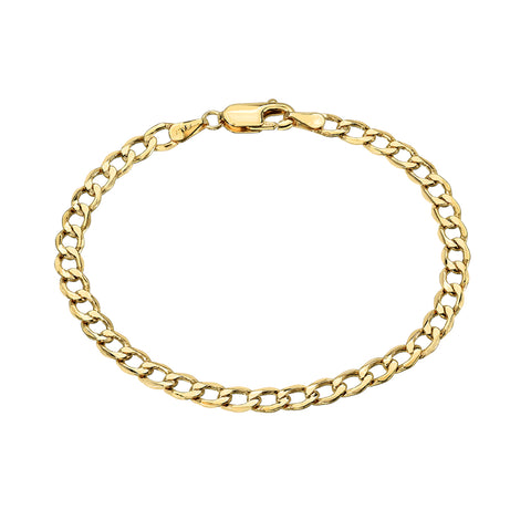 14K Gold Open Curb Link Chain Bracelet, Medium Size Links